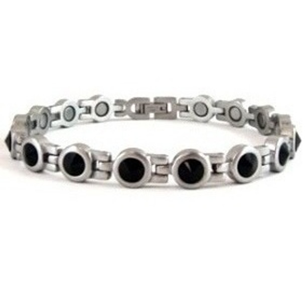 Black King Cut Crystals - Stainless Steel Magnetic Therapy Bracelet