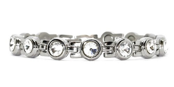 Clear King Cut Crystals Silver -  Silver-Plated  Magnetic  Bracelet