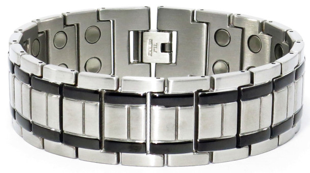 Gladiator (two 5,000 gauss magnets per link) - Stainless Steel Magnetic Therapy Bracelet