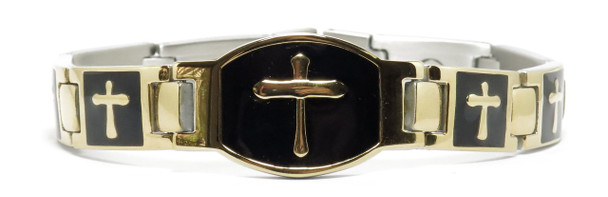 Gold Tone Crosses (two 5,000 gauss magnets per link) - gold-plated  Magnetic  Bracelet