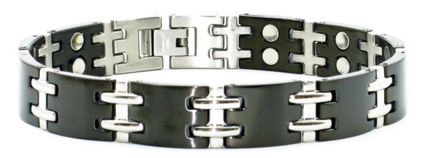 Modern-H (two 5,000 gauss magnets per link) - Stainless Steel Magnetic Therapy Bracelet