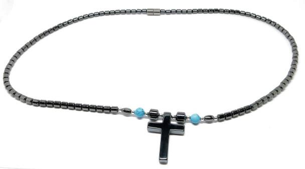 Hematite Cross  - Magnetic Necklace