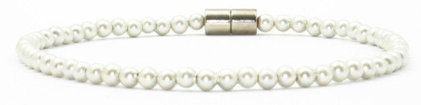 Snowballs - Simulated Pearl Coated Hematite  Magnetic  Anklet