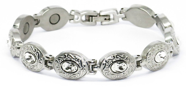 Snow White -  Stainless  Steel Magnetic Therapy  Bracelet