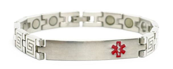 Greek Key Medical ID -  Stainless Steel Magnetic Therapy  Bracelet - !
