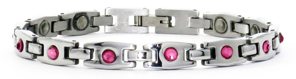 Pink Sparkler - Awareness Stainless Steel  Magnetic Therapy Bracelet
