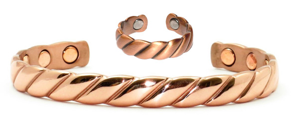 Copper Rope Set - Solid Copper Magnetic Cuff Bracelet and Ring Set
