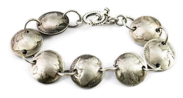 Indian Head + Buffalo Nickel Magnetic Bracelet - Handmade