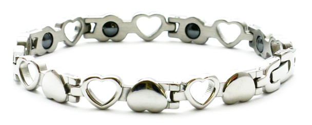 Open Hearts - Stainless Steel Magnetic Bracelet  - 8 inches