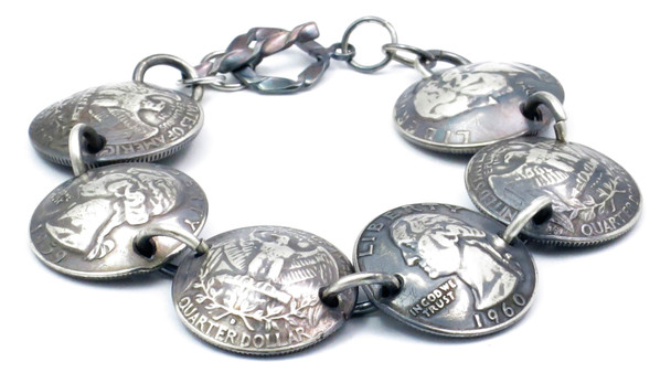 Handmade 90% Silver Quarters Magnetic Bracelet - Patina