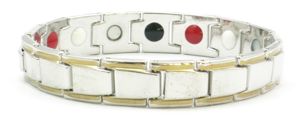 Silver/Gold Plated Economy 4-Way Magnetic Therapy Bracelet - 8 inches long