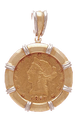 14K Gold Bezel  RHODIUM BAR ENHANCER Pendant - $10 US Indian Head, $10 US Liberty