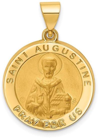14k Polished /& Satin St Vincent Hollow Medal Pendant Religious Charm