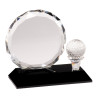 Small Clear Crystal Golf Award on Black Pedestal Base