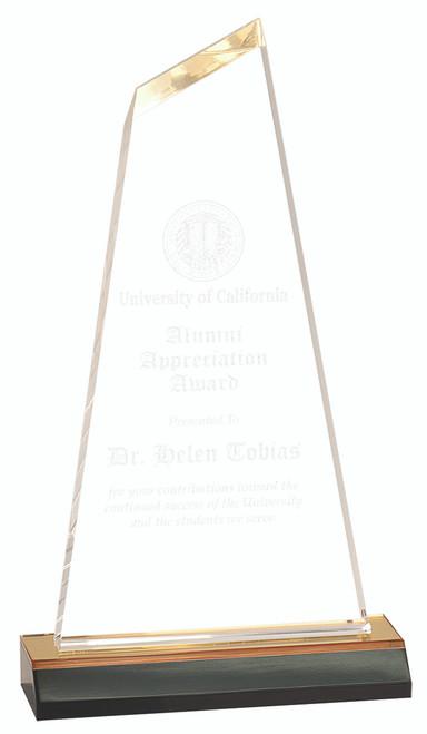 Clear Acrylic Award with Yellow Base 108