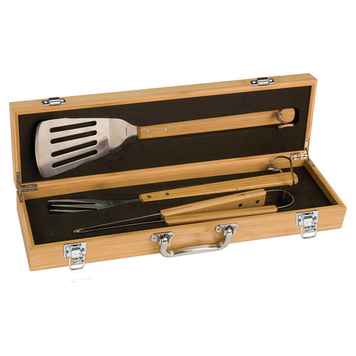 Genuine Bamboo and Stainless Steel BBQ Gift Set