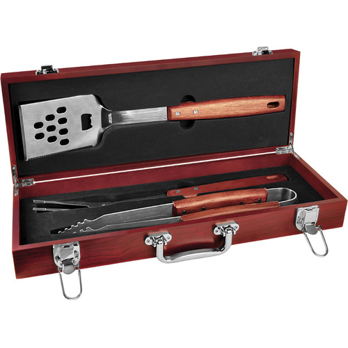 Rosewood and Stainless Steel BBQ Gift Set