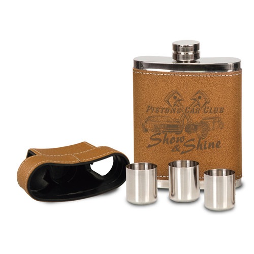 Leather and Stainless Steel Flask Kit