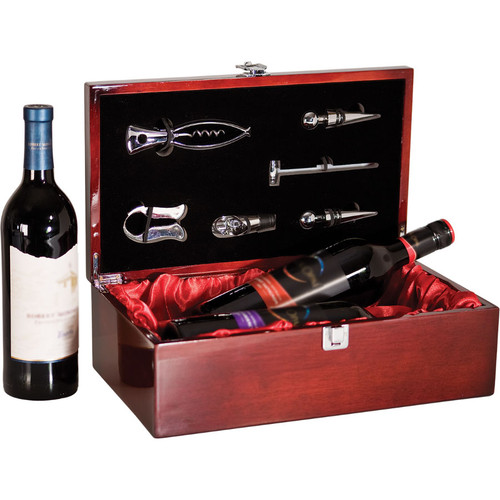 Rosewood Piano Finish Large Bottle Case and Wine Serving Kit