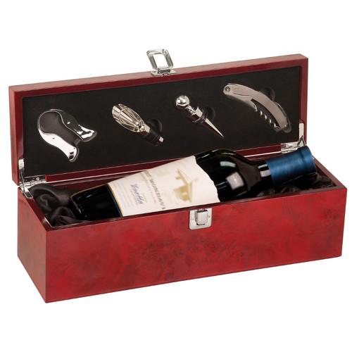 Burlwood Bottle Case and Wine Serving Kit