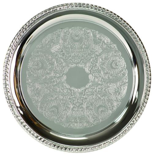 Chrome-Plated Medium Round Serving Plate