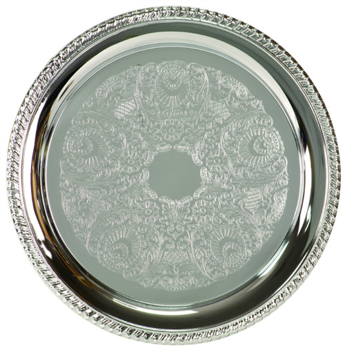 Chrome-Plated Large Round Serving Plate
