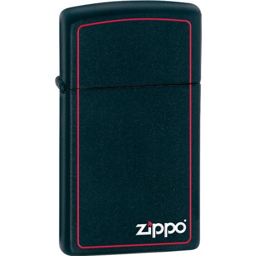 Zippo® Slim® Logo Black Matte Lighter with Red Border