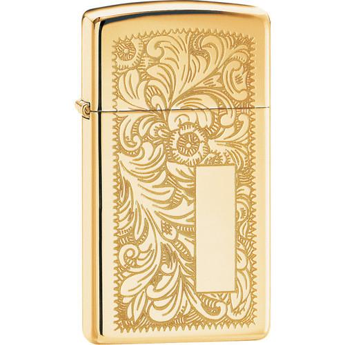 Zippo® Slim® Venetian™ High Polish Brass Lighter