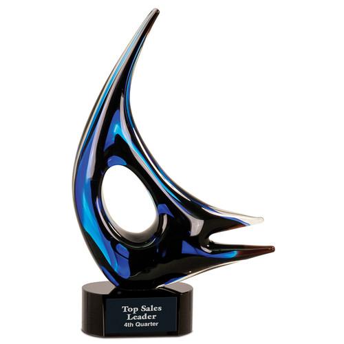 Blue and Black Sail Art Glass Statuette