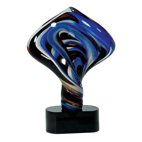 Blue, Black, and Gold Diamond Twist Art Glass Statuette