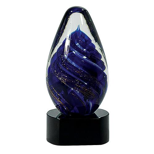 Blue Tear Drop Art Glass Statuette
