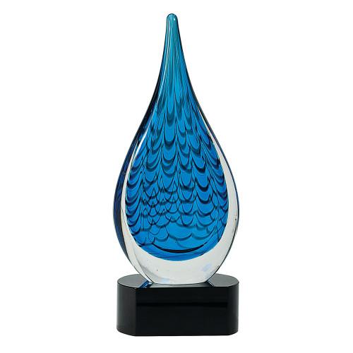 Blue Raindrop Art Glass Statuette
