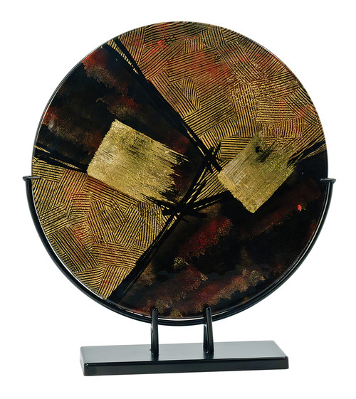 Round Brown and Gold Art Glass with Metal Base