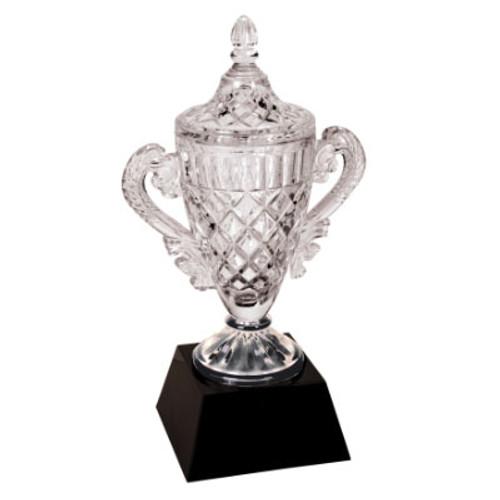 Large Crystal Trophy on Black Pedestal Base