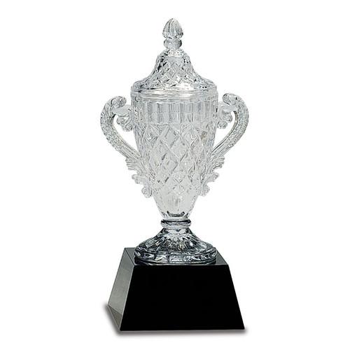 Small Crystal Trophy on Black Pedestal Base