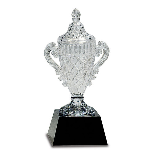 Small Crystal Trophy on Black Pedestal Base