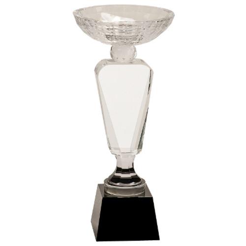 Large Crystal Cup Trophy on Black Pedestal Base