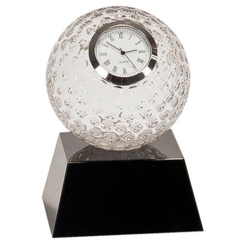Crystal Golf Ball Clock on Black Pedestal Base