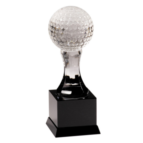 Crystal Golf Ball on Black Pedestal Base
