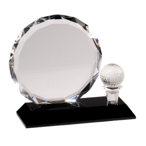 Large Clear Crystal Gold Award on Black Pedestal Base