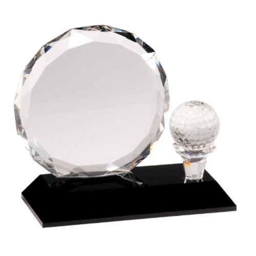 Small Clear Crystal Golf Award on Black Pedestal Base