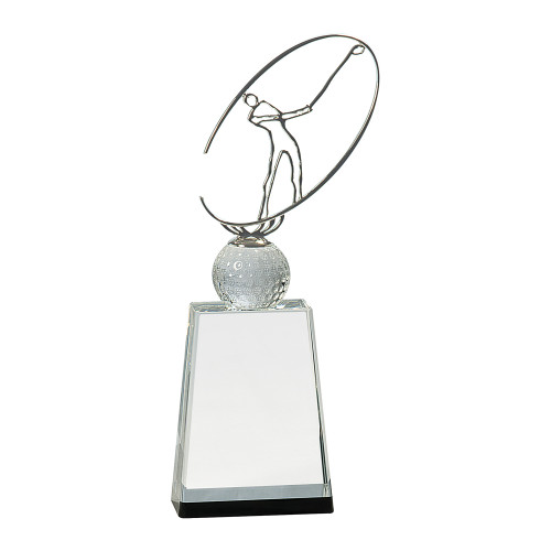Large Clear/Black Crystal Golf Award with Silver Metal Figure