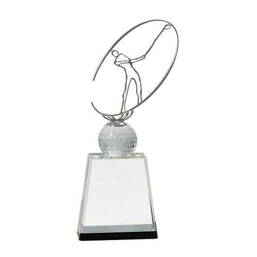 Medium Clear/Black Crystal Golf Award with Silver Metal Figure