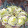 An impressionistic still life oil painting on canvas of a single Squash up close by Julia Swartz