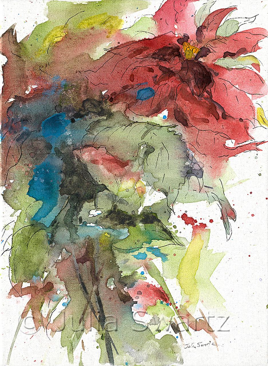 Art print POSTER CANVAS Close-up of poinsettias