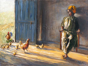 An oil painting of chickens in the doorway of a home by Julia Swartz Lancaster PA