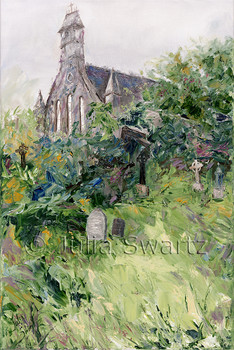 An Original Landscape Oil paintings of a church with Celtic cross and cemetery by Julia Swartz In Ireland.