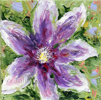 A Clematis Flower painted close up with oil on canvas by Julia Swartz