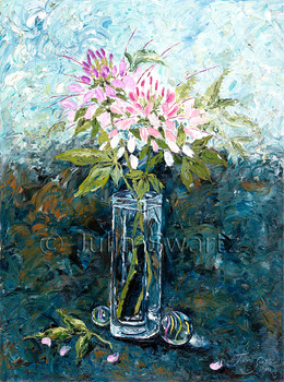 A palette knife oil painting of Cleomes flowers by Julia Swartz