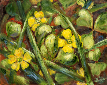 A close up oil painting of tiny yellow flowers and clover by Julia Swartz.